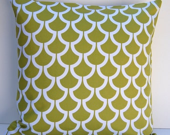 Green Decorative Pillow Cover,  Kiwi Green Geometric Throw Pillow, One 18x18 Reversible Pillow