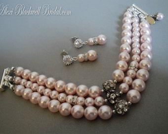 Blush Pink Bridal Bracelet or Bridesmaid Bracelet- 3 strands Swarovski Pearls with Rhinestone accents wedding jewelry sets gifts