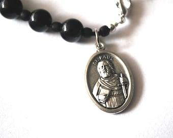 Saint Paul Mens Rosary Bracelet, Black Onyx Tigers Eye Turquoise Patron Saint Paul Bracelet Male confirmation Gift Catholic Rosary For Boys