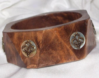 SALE 5.00 Wide, Cut WOODEN Bangle Bracelet with Metal Scroll detailing