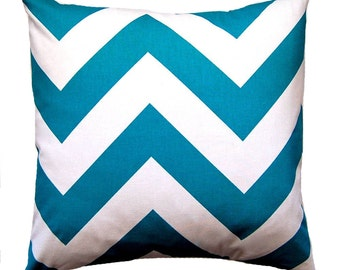 One Euro Sham -  Turquoise Chevron Pillow Cover - Teal Pillow Cover - Decorative Throw Pillow Covers - 24 x 24 - Teal Cushion Covers