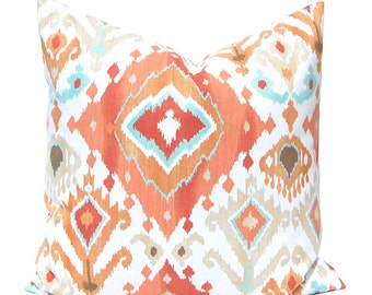 Orange Pillow Cover, Ikat Pillow Cover, Throw Pillow Cover, Orange Ikat with Turquoise, Ikat Cushion Cover, Ikat Pillow with Orange and Aqua