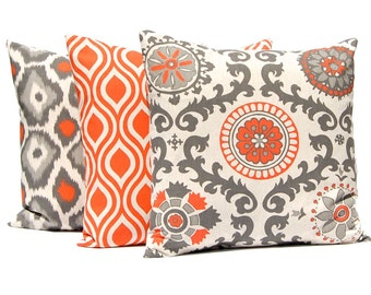 Orange Pillow Covers, Throw Pillow Cover, Decorative Pillow Covers,  Orange Taupe on Linen,  Cushion Cover Fall Pillows Set of Three