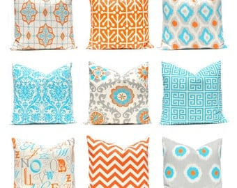 Orange Chevron Pillow Decorative Throw Pillow Cover ONE Orange and Turquoise on Natural 18 x 18 Inches Chevron Pillows Greek Key Pillows