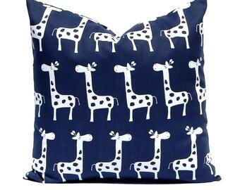 Navy Blue Pillow, Nursery Pillow, Nursery Decor, Giraffe Pillow, Navy Blue Cushion Cover, Animal Pillow Cover, Decorative Throw Pillow