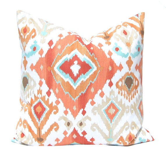 Euro Sham, Orange Pillow, Throw Pillow Cover, Pillow Cover, Orange Ikat Pillow, Decorative Pillow Cover Coral Cushion Cover Ikat Pillow Aqua