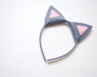 Wool Felt Gray Cat Plush Ears Headband