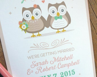Owl Couple Wedding Save the Date, Wedding Invitations, Shower Invitations
