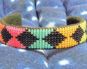 Neon and black seed bead cuff bracelet