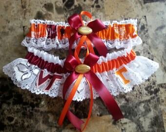 Virginia Tech and University of Tennessee wedding garter set.