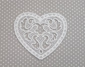 CLEARANCE  Venise Venice Lace White Heart Folk Art Wedding Bridal