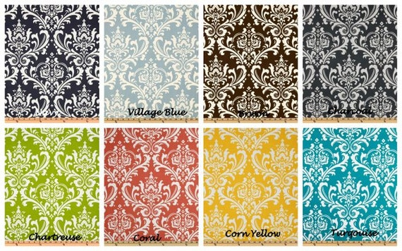 Delightful Items Similar To Damask Fabric, Premier Prints, Shower Curtain, Standard  Size 72x72, Navy, Village Blue, Coral, Corn Yellow, Chartreuse, Charcoal,  ...