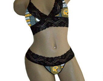 Sexy Green Bay Packers NFL Lingerie Black Lace Cami Bralette Style Tie-Top and Matching G-String - DD Cup Top, L G-String - Ready to Ship