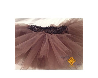 NEW PRODUCT All brown infant tutu with matching headband