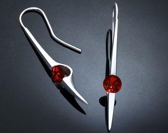 garnet earrings, statement earrings, garnet jewelry, Argentium silver, January birthstone, Mozambique garnet, dangle earrings - 2444