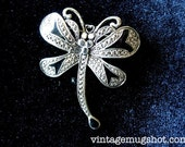 "Beautiful Vintage Butterfly Pin Excellent  1 3/4""  Antique Brooch Marcasite Art deco"