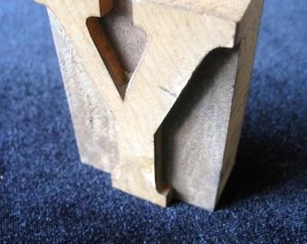 "Printer's TYPE Y Wooden Letter  1 3/4"" "" x 2 1/2"" VINTAGE Print Letter From a PrintshopRepurpose"