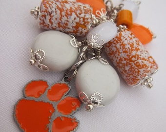 Clemson Orange & White Beaded Keychain / Metal Clemson Tigers Charm