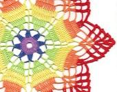 Crochet doily, lace doilies, table decoration, crocheted doilies, centre piece, hand made, table runner, napkin, Rainbow