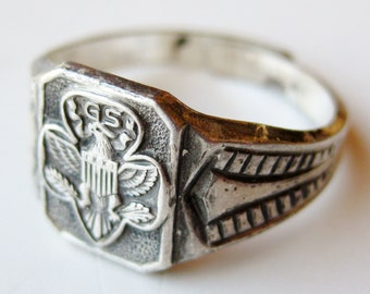 Vintage 40s Ring Art Deco Sterling Silver Girl Scout Ring size 7