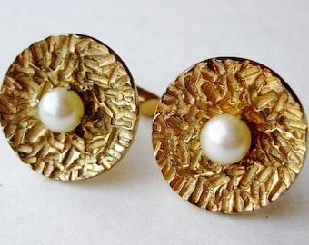 Vintage 50s Gold Vermeil Sterling Silver Modernist Pearl CuffLinks Cuff Links