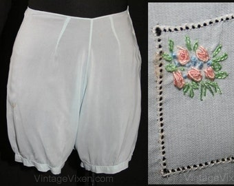 XS 1930s Baby Blue Trousseau Tap Panty Bloomer - Completely Hand-Sewn Lingerie - 30s Panties - Rayon Underwear - Size 2 - Waist 24 - 31872