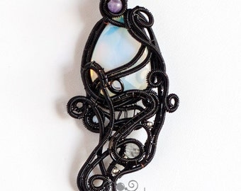 OOAK Freeform gothic opalite and black wire wrapped pendant