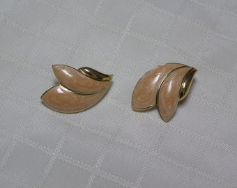 Vintage Trifari apricot enamel gold tone trim ..bridal party...clip earrings
