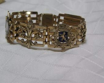 Vintage French brass blue and white enamel Fleur de lis Maltese cross Lion Eagle panel bracelet