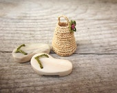 Made to order, Miniature slippers with mini basket, home decor, dollhouse miniature, native art