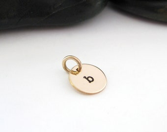 Hand Stamped Jewelry, Gold Fill Initial Charm, Personalized, Mom Jewelry, Letter Charm
