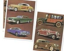 3 CAR Retro Vintage Illustrated VINTAGE Poster - Original from 1970s - CARS