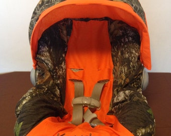 MOSSY OAK CAMO with orange Infant Car Seat Cover and Canopy with Free Monogram