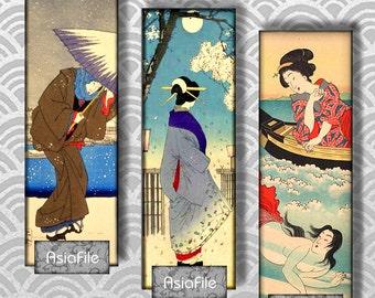 Printable Digital Collage More Microslide Geisha 1 x 3 Size Vintage Japanese Images CS 140