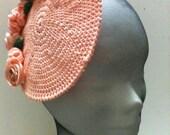 Wedding  Peach Mini Hats ,Crochet  Boho Style Women  Fascinator Peach   ,Women Accessory Slouchy  Peach.