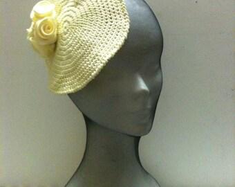 Wedding Yellow Mini Hats ,Crochet  Boho Style Women  Fascinator Yellow   ,Women Accessory Slouchy  Yellow.