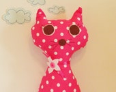 Cat doll , pink fabric cat , stuffed cat toy , pink cat doll , pink cat pillow, baby girl gift unique