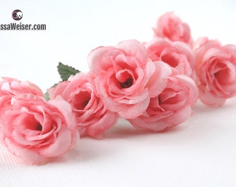 Silk Flowers - Nine Mini Roses in Peachy Pink - Small Flowers - Artificial Flowers
