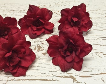Silk Flowers -SIX Delphinium Blossoms in Red - 3 Inch Size - Artificial Flowers