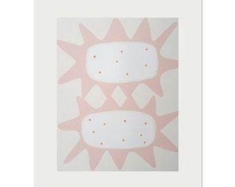 Emma Lawrenson screenprint, pink, pretty, retro art. Original, handmade, fifties home