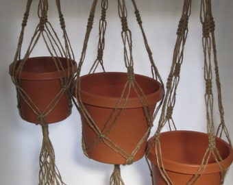 Macrame Plant Hangers Vintage Style TRIO 24 inch, 30 inch, and 36 inch 3 Ply Jute