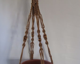 "Macrame Plant Hanger 52 inch CINNAMON with a 19"" Drop (Choose Color)"