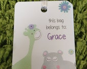 Personalized Bag Tag - Luggage Tag, Choose your design, Custom Luggage Tag - hippo, giraffe, carter zoo, Diaper Bag Tag - Design Your Own