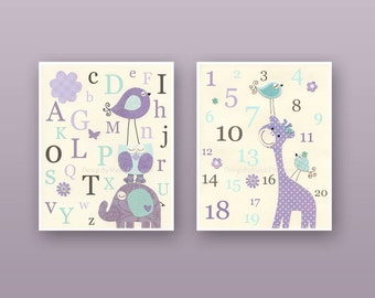 Kids Wall Art Nursery Decor, Carter Zoo, Baby girl Room Art, Set 2 print,Nursery Art Decor, purple, blue,aqua, turquoise, Gray, giraffe, ABC