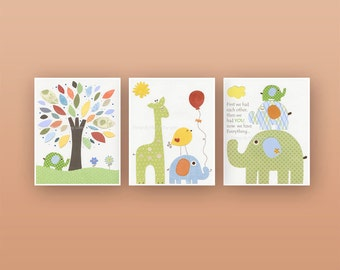 Nursery Decor For Baby Room - Nursery Wall Art Decor Set of 3 Prints, Featuring Jungle Friends - Yellow, Blue, Green, Orange, baby room wall
