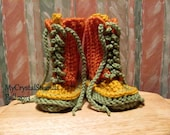 Buggs Color Block Trend  Lace Up Baby Booties - Orange, Green, Gold, Plum