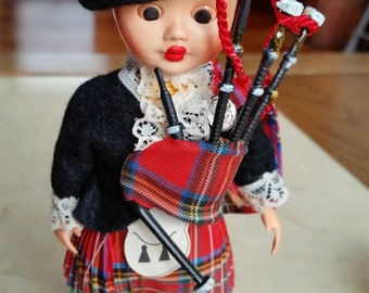 SALE Vintage Bagpiper Character Doll with Sleeping Eyes in Original Packaging 1960s Kilt Bagpipes Made in Great Britain