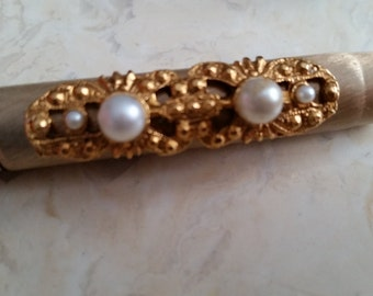 Vintage Ornate Pen Gold Tone Metal Faux Pearls 1950s