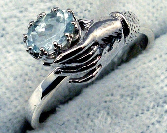 Aquamarine, Art Nouveau Style Ladies Gloved Hand ring design, Hand Crafted recycled sterling silver