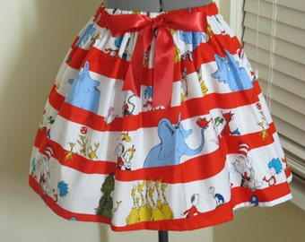Celebrate Seuss! Character Stripe Skirt - Ready to ship sizes X-Small-Large